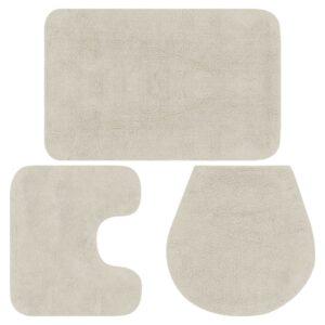 Conjunto tapetes de casa de banho 3 pcs tecido branco - PORTES GRÁTIS
