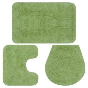 Conjunto tapetes de casa de banho 3 pcs tecido verde - PORTES GRÁTIS