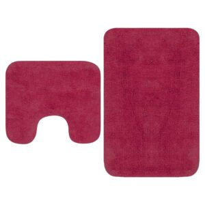 Conjunto tapetes de casa de banho 2 pcs tecido fúcsia  - PORTES GRÁTIS