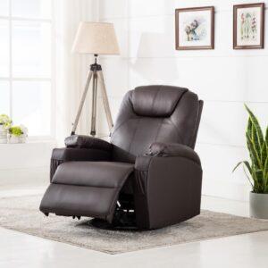 Cadeira massagem elétrica reclinável couro artificial castanho - PORTES GRÁTIS