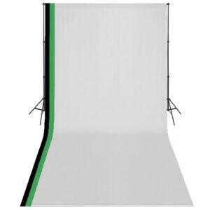 Kit estúdio fotografia 3 fundos algodão, moldura ajustável 3x6m - PORTES GRÁTIS