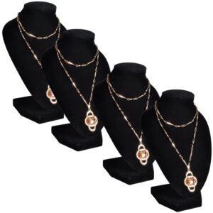 Busto para colares, suporte de joia em flanela, preto 9 x 8,5 x 15 cm - PORTES GRÁTIS