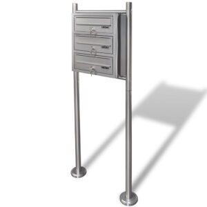 Caixa de correio tripla com suporte em aço inoxidável - PORTES GRÁTIS