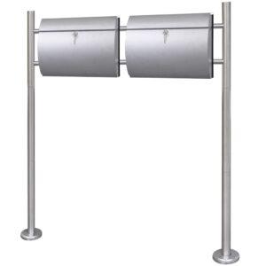 Caixa de correio dupla em suporte aço inoxidável  - PORTES GRÁTIS