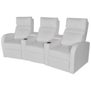 Poltrona reclinável de 3 lugares couro artificial branco  - PORTES GRÁTIS