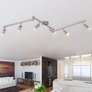 Candeeiro de teto com 6 focos LED em níquel acetinado - PORTES GRÁTIS