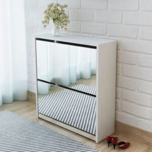 Sapateira de 2 divisórias com espelho 63x17x67cm branco  - PORTES GRÁTIS