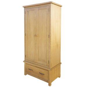 Roupeiro com 1 gaveta 90x52x183 cm madeira carvalho maciça  - PORTES GRÁTIS