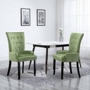 Cadeira de jantar com apoio de braços veludo verde-claro - PORTES GRÁTIS