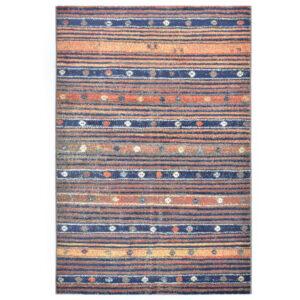 Tapete 80x150 cm PP azul e laranja - PORTES GRÁTIS