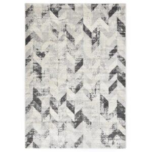 Tapete 120x170 cm PP cinzento e branco - PORTES GRÁTIS