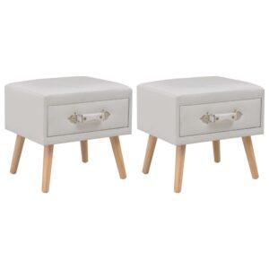 2 Mesas cabeceira 40x35x40 cm couro artificial branco - PORTES GRÁTIS