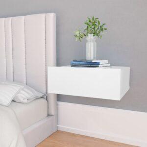 Mesa cabeceira suspensa 2 pcs 40x30x15 cm contraplacado branco - PORTES GRÁTIS
