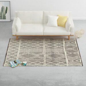 Tapete tecido à mão 80x150 cm lã preto/branco - PORTES GRÁTIS