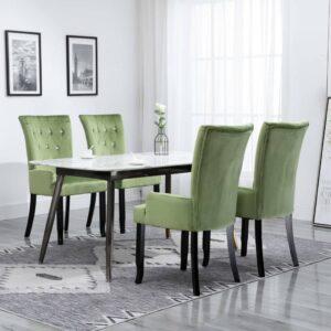 Cadeira de jantar com apoio de braços 4 pcs veludo verde-claro - PORTES GRÁTIS