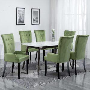 Cadeira de jantar com apoio de braços 6 pcs veludo verde-claro - PORTES GRÁTIS