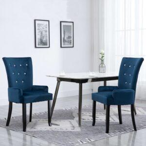 Cadeira de jantar com apoio de braços 2 pcs veludo azul-escuro - PORTES GRÁTIS