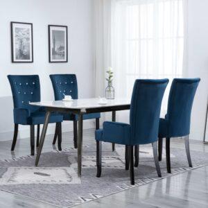 Cadeira de jantar com apoio de braços 4 pcs veludo azul-escuro - PORTES GRÁTIS