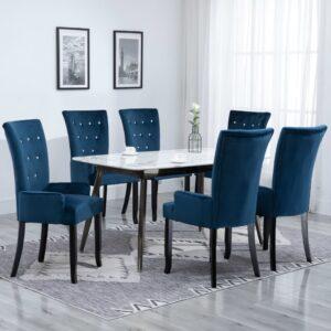Cadeira de jantar com apoio de braços 6 pcs veludo azul-escuro - PORTES GRÁTIS