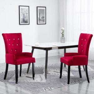 Cadeira de jantar com apoio de braços 2 pcs veludo vermelho - PORTES GRÁTIS