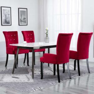 Cadeira de jantar com apoio de braços 4 pcs veludo vermelho - PORTES GRÁTIS