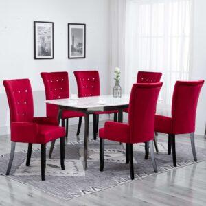 Cadeira de jantar com apoio de braços 6 pcs veludo vermelho - PORTES GRÁTIS