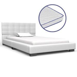 Cama + colchão espuma memória 90x200 cm couro artificial branco - PORTES GRÁTIS