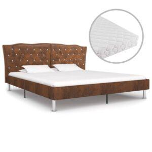 Cama com colchão 160x200 cm tecido castanho - PORTES GRÁTIS
