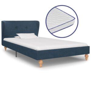 Cama c/ colchão espuma de memória 90x200 cm tecido azul - PORTES GRÁTIS