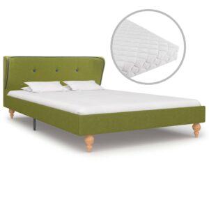 Cama com colchão 120x200 cm tecido verde - PORTES GRÁTIS