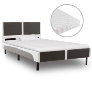 Cama com colchão 90x200 cm couro artificial cinzento e branco - PORTES GRÁTIS