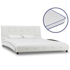 Cama + colchão espuma memória 140x200cm couro artificial branco - PORTES GRÁTIS