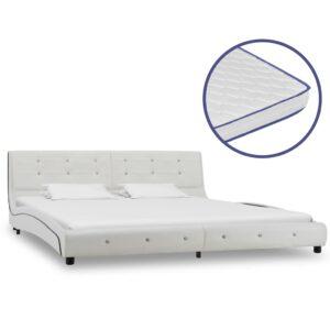 Cama + colchão espuma memória 180x200cm couro artificial branco - PORTES GRÁTIS