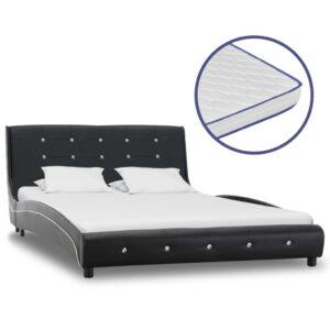 Cama + colchão espuma memória 120x200cm couro artificial preto - PORTES GRÁTIS