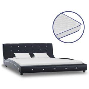Cama + colchão espuma memória 160x200 cm couro artificial preto - PORTES GRÁTIS