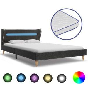 Cama LED colchão esp. memór. 90x200cm serapilheira cinza-escuro - PORTES GRÁTIS
