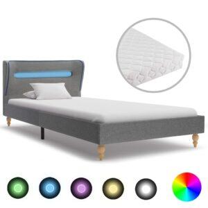 Cama c/ LED e colchão 90x200 cm tecido cinzento-claro - PORTES GRÁTIS