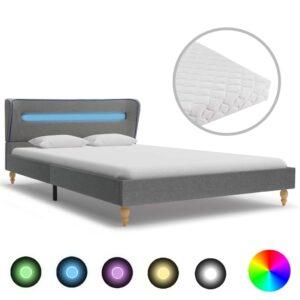 Cama com LED e colchão 120x200 cm tecido cinzento-claro - PORTES GRÁTIS