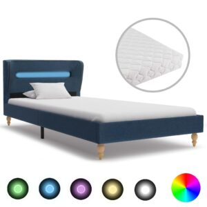 Cama com LED e colchão 90x200 cm tecido azul - PORTES GRÁTIS