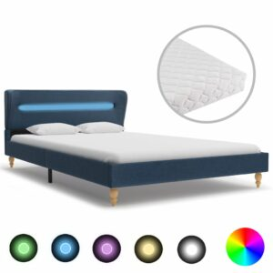 Cama com LED e colchão 120x200 cm tecido azul - PORTES GRÁTIS