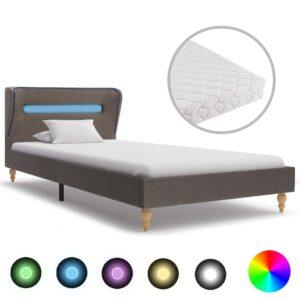 Cama com LED e colchão 90x200 cm tecido cinzento-acastanhado - PORTES GRÁTIS