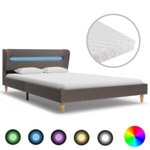 Cama com LED e colchão 120x200 cm tecido cinzento-acastanhado - PORTES GRÁTIS