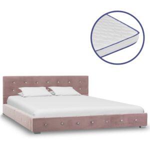 Cama c/ colchão espuma de memória 140x200 cm veludo cor-de-rosa - PORTES GRÁTIS