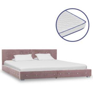 Cama c/ colchão espuma de memória 160x200 cm veludo cor-de-rosa - PORTES GRÁTIS