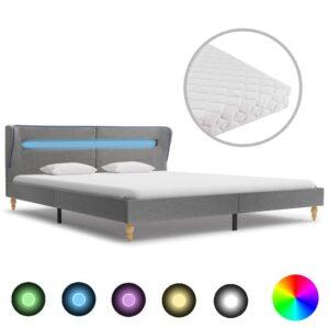 Cama com LED e colchão 160x200cm tecido cinzento-claro - PORTES GRÁTIS