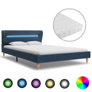Cama com LED e colchão 140x200 cm tecido azul - PORTES GRÁTIS