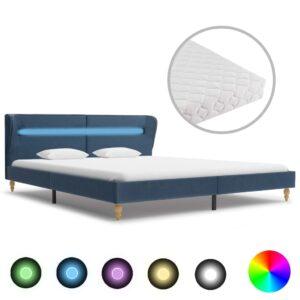Cama com LED e colchão 180x200 cm tecido azul - PORTES GRÁTIS