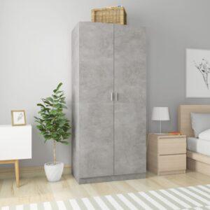 Roupeiro 90x52x200 cm contraplacado cinzento cimento - PORTES GRÁTIS
