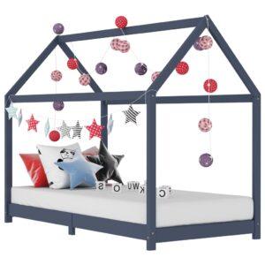 Estrutura de cama para crianças 90x200 cm pinho maciço cinzento - PORTES GRÁTIS