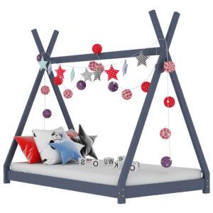 Estrutura de cama para crianças 80x160 cm pinho maciço cinza - PORTES GRÁTIS